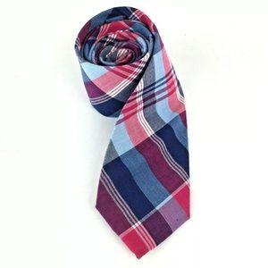 J Crew Slim Plaid Tie Blue Red 100% Cotton